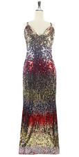 In-Stock Long Multi Color Sleeveless Sequin Fabric Gown (L2020-0015)  SIZE: US 18 / UK 20 / EUR 50 (Measurements are shown as inches) BUST: 45 WAIST: 38 HIPS: 48 G: 20 (mid top of shoulder to waist) H Length: 63