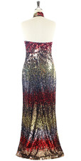 In-Stock Long Multi Color Sleeveless Chinese Collar Sequin Fabric Gown (L2020-0016) SIZE: US 18 / UK 20 / EUR 50 (Measurements are shown as inches) BUST: 45 WAIST: 38 HIPS: 48 G: 20 (mid top of shoulder to waist) H Length: 63