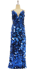 In-Stock Long Handmade Dark Blue Jumbo Hanging Sequins Gown (L2020-0022)  SIZE: US 24 / UK 26 / EUR 56 (Measurements are shown as inches) BUST: 51 WAIST: 44 HIPS: 54 G: 22 (mid top of shoulder to waist) H Length: 62