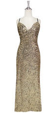In-Stock Long Gold Baroque Sequin Fabric Gown (L2020-0027)  SIZE: US 14 / UK 16 / EUR 46 (Measurements are shown as inches) BUST: 41 WAIST: 34 HIPS: 44 G: 20 (mid top of shoulder to waist) H Length: 63