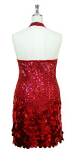 Short Halter Neck Handmade 8mm Cupped Sequin Dress in Red with Paillette Sequin Skirt back view