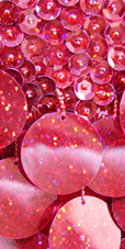 Short Halter Neck Handmade 8mm Cupped Sequin Dress in Red with Paillette Sequin Skirt close up view