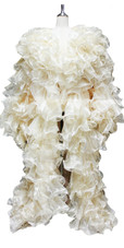 Long Sleeves Organza Ruffle Coat In Skin Tone with Sequins Trim (2020-005)