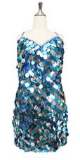Handmade Torquoise & Silver Jumbo Sequin Short Dress (2020-021)
