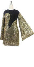 Short Gold Baroque Sequin Fabric with Black Fabric Dress (2020-029)