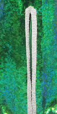 Handmade Long Hologram Green Gown with Silver Trims (2020-032)