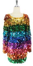 Handmade Short Dress In Multi-Colour Hologram Jumbo Sequins (2020-033)