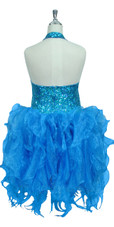 Handmade Round 8mm Sequin Short Dress in Hologram Turquoise with Turquoise Organza Skirt Back View
