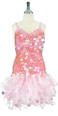 Handmade Short Transperant  Sequin Dress with Organza Ruffle Skirt (2020-037)