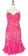 Handmade Short Transparent Pink  Sequin Dress with Jagged Beaded Skirt (2020-040)