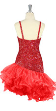 Short Handmade 8mm Cupped Sequin Dress in Hologram Dark Red with Organza Ruffled Diagonal Hemline back view