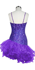 Short Handmade 8mm Cupped Sequin Dress in Hologram Purple with Organza Ruffled Diagonal Hemline back view