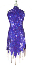 Short Handmade 10mm Flat Sequin Dress in Hologram Purple with Chinese Collar and Jagged, Beaded Hemline back view