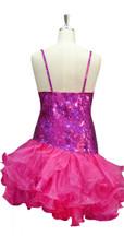 Short Handmade 10mm Flat Sequin Dress in Hologram Pink and Diagonal Organza Skirt back view