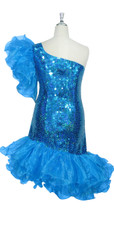 Short Handmade 10mm Flat Sequin Dress in Hologram Turquoise with One-shoulder Cut and Organza Skirt and Sleeve back view