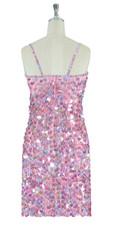 Short Handmade 20mm Paillette Hanging Sequin Dress in Hologram Pink back view