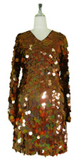 Short Handmade 30mm Paillette Hanging Hologram Brown Sequin Dress with V Neck and Oversized Sleeves front view