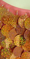 Short Handmade 30mm Paillette Hanging Hologram Copper Sequin Sleeveless Dress with U Neck close up