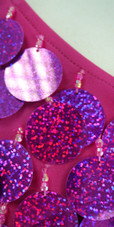 Short Handmade 30mm Paillette Hanging Hologram Fuchsia Sequin Dress with V Neck and Oversize Sleeves close up