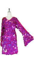 Short Handmade 30mm Paillette Hanging Hologram Fuchsia Sequin Dress with V Neck and Oversize Sleeves