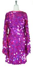 Short Handmade 30mm Paillette Hanging Hologram Fuchsia Sequin Dress with V Neck and Oversize Sleeves back