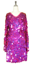 Short Handmade 30mm Paillette Hanging Hologram Fuchsia Sequin Dress with V Neck and Oversize Sleeves front