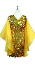 Short Handmade 30mm Paillette Hanging Hologram Gold Sequin Dress with V Neck and Oversize Organza Sleeves Back View