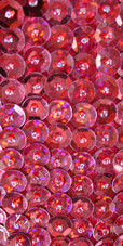 Long Handmade 8mm Cupped Sequin Dress in Hologram Red close up view