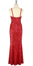Long Handmade 8mm Cupped Sequin Dress in Hologram Red back view