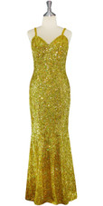 Long Handmade 8mm Cupped Sequin Dress in Hologram Gold front view