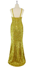 Long Handmade 8mm Cupped Sequin Dress in Hologram Gold back view