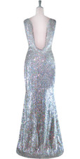 Long Cowl Back Handmade 8mm Cupped Sequin Dress in Hologram Silver back view