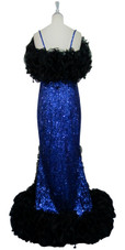 Long Handmade 8mm Cupped Sequin Dress in Hologram Dark Blue with Black Organza Ruffles back view