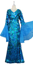 Long Handmade Paillette Sequin Gown in Hologram Turquoise with Oversize Organza Sleeves front view