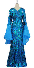 Long Handmade Paillette Sequin Gown in Hologram Turquoise with Oversize Organza Sleeves Back view