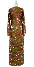 Long Handmade Paillette Sequin Gown in Hologram Brown with Oversize Sleeves back view