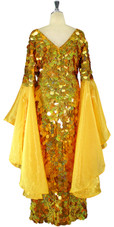 Long Handmade Paillette Sequin Gown in Hologram Gold with Oversized Organza Sleeves back view