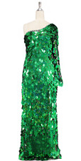 Long handmade sequin dress in hologram emerald green paillette sequins with silver faceted beads and a luxe grey fabric background in a one sleeve cut front view