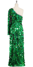 Long handmade sequin dress in hologram emerald green paillette sequins with silver faceted beads and a luxe grey fabric background in a one sleeve cut back view
