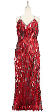 A long handmade sequin dress, in rectangular hologram red paillette sequins with silver faceted beads and a luxe grey fabric background in a classic cut front view