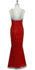 A long handmade fishscale sequin dress in red and  silver 10mm sequin spangles back view