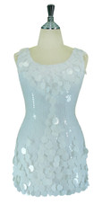 Short Handmade 8mm Cupped Sequin Dress in White with Paillette Highlighting front view