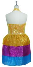 Short Handmade 10mm Flat Sequin Dress in Pastel Orange with Halter Neckline and Organza Skirt back view