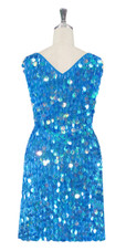 Short Handmade 20mm Paillette Hanging Sequin Dress in Pastel Iridescent Blue with V- Neck back view
