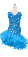 Short Handmade 20mm Paillette Hanging Iridescent Pastel Blue Sequin Dress with Diagonal Organza Hemline back view