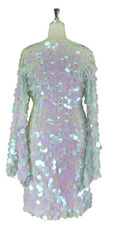 Short Handmade 30mm Paillette Hanging Iridescent Pinky White Sequin Dress with V Neck and Oversized Sleeves back view