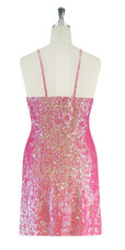 Short Handmade 8mm Cupped Sequin Gown in Iridescent Pink back