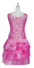 Short Handmade 8mm Cupped Sequin Dress in Transparent Pink with Organza Skirt back view