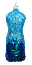 Short Chinese Collar Handmade 8mm Cupped Sequin Dress in Transparent Blue with Paillette Sequin Skirt back view
