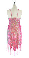 Short Handmade 8mm Cupped Sequin Dress in Iridescent Pink with Jagged Beaded Hemline back view